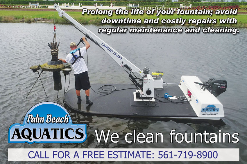 Palm Beach Aquatics  cleans and maintains lake fountains